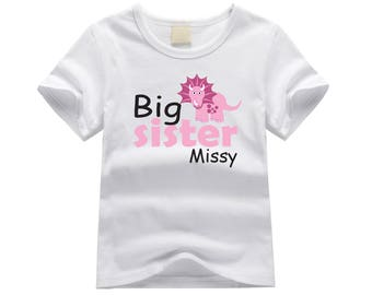 Personalized big sister shirt. Big sister dinosaur theme. Dinosaur big sister shirt. Big sister announcement. Dinosaur big sister tee.