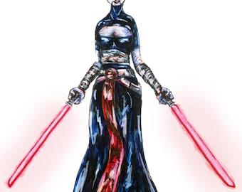 Asajj Ventress Star Wars Clone Wars Inspired Art Print