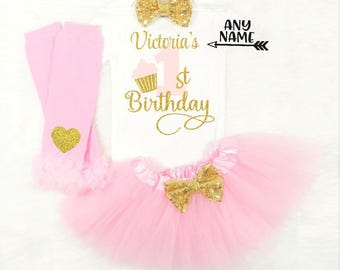 girls first birthday outfit baby girls first birthday outfit girls first birthday shirt pink and gold first birthday cupcake birthday outfit