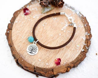 Tree of Life Vegan Bracelet • Silver Valentines jewellery jewelry gifts presents for wife girlfriend her, turquoise, vegetarian, boho