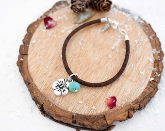 Hibiscus Vegan Bracelet • Silver charm jewellery, gift for her, hawaii, tropical, blue, beach, ocean, Valentines, jewelry, girlfriend, wife