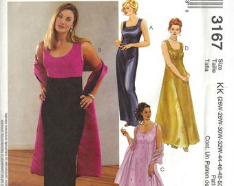 McCalls 3167 Sewing Pattern Lined Empire Waist Gown and Stole sz 26W thru 32W Uncut
