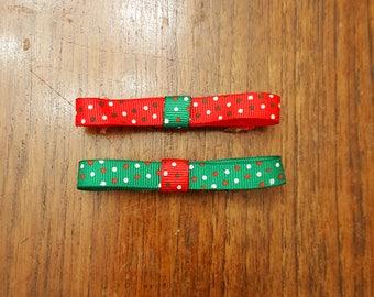 Polka Dot Holiday Bow Barrette Set, Set of Two Festive Barrettes on French Barrettes or Alligator Clips