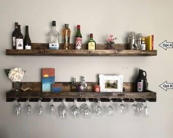 "60"" Long Rustic Wood Wine Rack Shelf & Hanging Stemware Glass Holder Organizer Bar Shelf Unique"