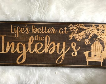 Laser Engraved Last Name Sign for Cottage or Man Cave. Personalized Wooden Sign. Welcome Sign. Cottage Sign. Cottage Living