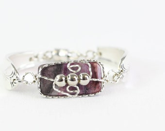Amethyst Bracelet for Women SiIverware Jewelry,  Purple Bridesmaid Jewelry , Best Friend Gift Bride , Inspirational Gift Spoon Bracelet