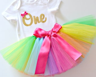 Bright Rainbow 1st Birthday & Cake Smash Tutu Outfit | Gold Glitter One Onesie Bodysuit and Tutu Set | First Birthday Outfit | Short Sleeve