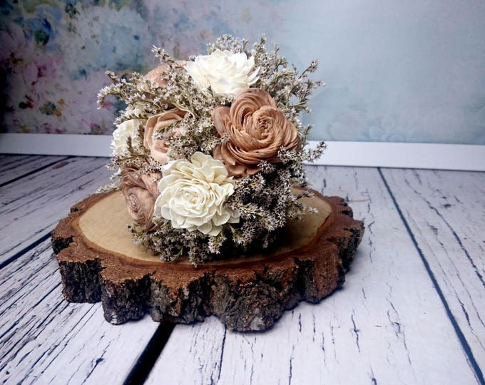 Rustic wedding bouquet caramel beige ivory sola flowers dried limonium burlap lace vintage elegant winter autumn bridal alternative flower