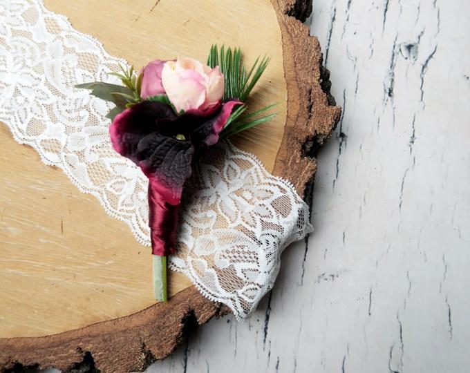 Boho wedding boutonniere burgundy blush greenery ferns tropical leafs artificial silk flowers realistic