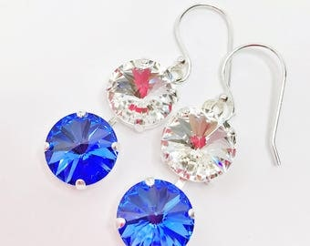 Sapphire Swarovski Crystal Earrings 12mm Chaton Drops Blue Crystal Drops Designer Jewelry Swarovski Elements Blue Sparkly Bridal Earrings