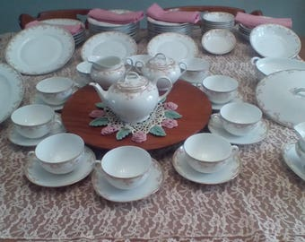 EASTER DINNING for Family and Friends~Beautiful 65 Piece Gremany Bavaria China Z.S. & C Company ~Pink Roses~Pattern: 8778