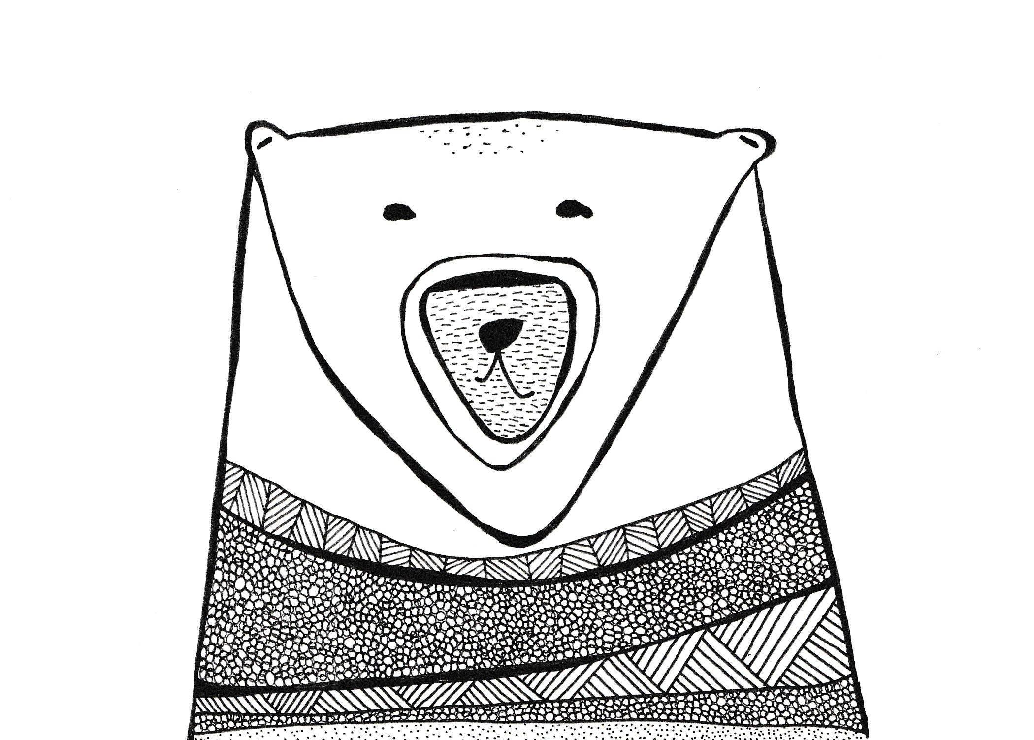 custom polar bear drawing hygge modern original new nordic