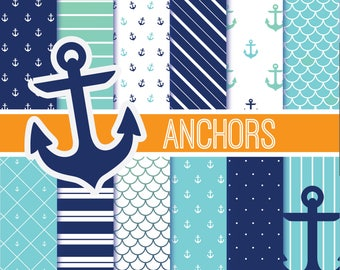 Anchor Digital Paper, Nautical, Polka Dot, Printable, Digital Download, 12x12, 300 dpi, Jpeg
