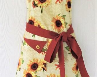 Sunflower Apron, Thanksgiving, Autumn Leaves, Women's Apron, Retro Style, Floral Apron, Cornucopia, Damask, KitschNStyle