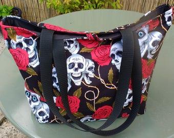 Handmade Bag, Goth Bag, Skull Bag, Shoulder Bag, Rockabilly, Tote Bag, Handbag