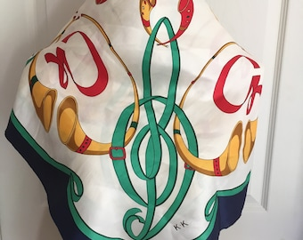 Vintage Large Square Equestrian Scarf in Red, Blue, Green and White Signed K.K.  FREE SHIPPING EVERYWHERE
