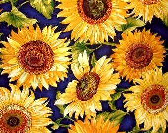 Tissu coton Gros Tournesols sur fond bleu nuit pour patchwork et loisirs créatifs