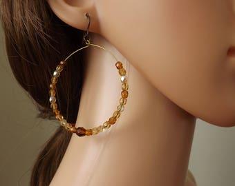 Beaded hoops, big hoops, bronzetone hoops, brown earrings, autumn earrings