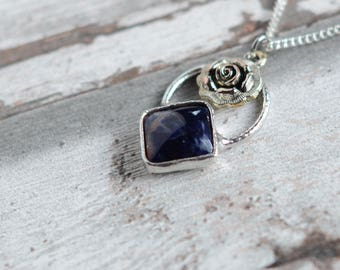 sodalite necklace with rose / silver plated chain  /
