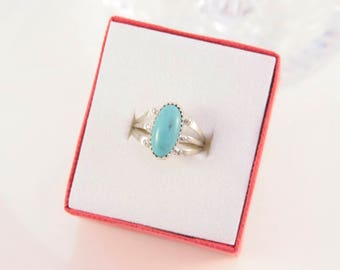 Turquoise Oval Ring Sterling Silver Navajo 925 Light Sky Blue Love Gemstone Sleeping Beauty Southwestern Size 7 1/2 Statement Belle Gift