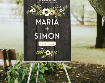 DARK Wooden Wedding Sign Large Welcome . Gold Poppy Anemone Magnolia Garland Eucalyptus Olive Branch . PRINTED Paper • Foam Board • Canvas