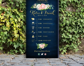 Large Timeline Event Icons Program itinerary Sign . Gold Script & Navy Chalkboard Pink Peony Garland White Rose Blush Dusty Miller. PRINTED