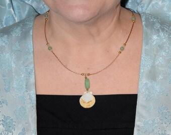 Aventurine and Orange Scallop Braided Necklace