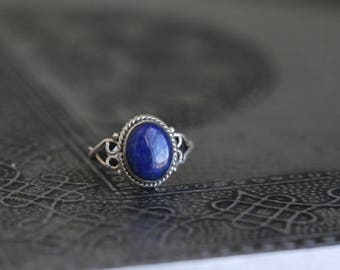 Lapis Lazuli Ring Oval,Lapis Ring, Silver ring,  large lapis stone ring