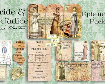 Pride and Prejudice Printable  Ephemera Pack  Digital Journal Printables  Junk Journal Printables  Ephemera Vintage  Jane Austen  Mini Album