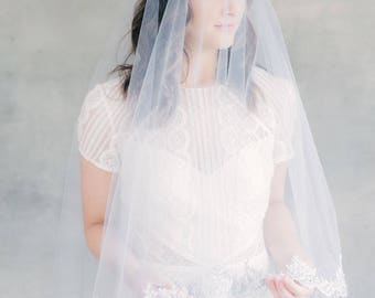 Bridal Veil, Wedding Veil, Lace Veil, Drop Veil, Double Layer Veil, Fingertip Veil, Elbow Veil, Blusher Veil, Circle Veil- Style 118 Celeste