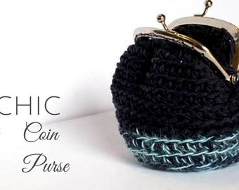 Purse Ready to Ship Coin purse Blue indigo light blue change purse crochet purse chic accessories chic purse