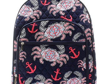 Crab Nautical Print Large Quilted Backpack Great for Back to School or Diaper Bag Navy Blue