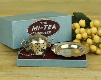 Original Silver Plated The Mi-Tea Infuser, Made in Englad, Tea Infuser, Mini Tea Pot, Miniatures, Tea Party, Tea Gift, Tea Strainer,  18-6