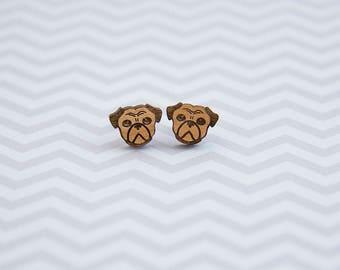 Wooden Pug Earrings - Stud earrings - Lasercut - Gift for Dog Lovers - Wood Earrings.