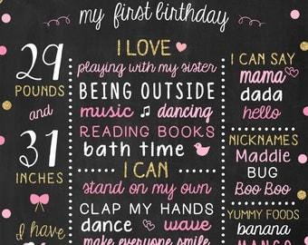 Gold 1st Birthday Baby Girl Chalkboard, First Birthday Poster, Pink and Glitter Birthday, One Year Girls Nursery Decor, 1st Bday Sign