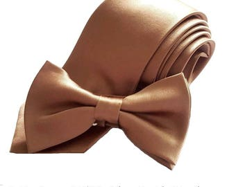 "Copper Tie Wedding Necktie Bowtie or Pocket Square Men's Copper Gold Brown Slim 2.75"" Ties Groomsmen Neckties Best Man Father of the Bride"