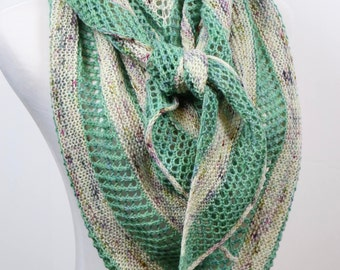 Large triangle scarf, wool striped shawl, mint green and tan speckled scarf, openwork triangle wrap