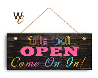 "OPEN Come On In Sign, Place Your Logo on Sign, Personalized 6""x14"" Sign, Promote Pop Up Boutique, Dark Rustic Wood Style, Made To Order"