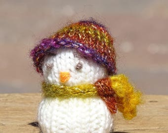 Hand Knitted Snowman, Tree Decoration, Tree Ornament, Snowman, Knitted Snowman, Christmas Ornament, Ready to Ship, Festive Toy, Housewarming