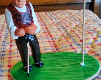 "Handcrafted Old Style Wood Carving---""The Golfer"""
