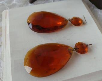 AMBER Crystal Prisms, Amber Glass Crystals, Amber Prisms, Amber Crystals, Amber Teardrop Crystals, Almond Crystals, Topaz Prism Crystals