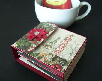 Christmas Tea Wallet - Christmas Tea Gift Box - Tea Bag Holder - Tea Wallet - Christmas Tea Party Favor - Christmas Tea Gift
