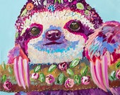 daisy sloth, sloth print, sloth art, colorful sloth, pink sloth print, sloth svg, sloth gift, sloth valentine, treat yourself,sloth love,zoo