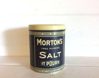Morton Salt Can, Mortons Salt Tin, Salt Tin Can, Collectibles Mortons, Blue Salt Tin, Tin Umbrella Girl, Vintage Mortons, Mortons Salt, Blue
