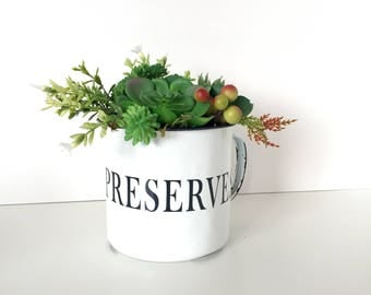 """Metal Mug """"Preserve"""" With Faux Succulents, Home Decor, White Metal Mug Modern Home Decor, Succulent Decor, Rustic, Country"""