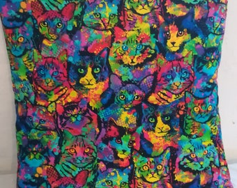 Psychedelic cat cushion cover