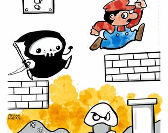 GAME OVER, Like Really!!!- funny Lil' Grim Reaper Print