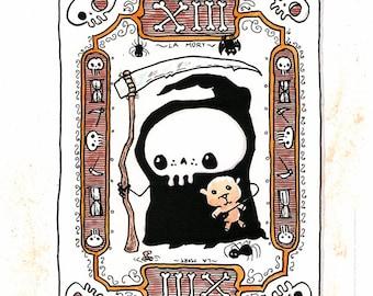 Tarot No. 13 - LA MORT (Death) - funny Lil' Grim Reaper Print