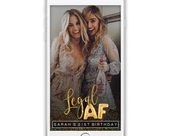 Legal AF Custom Snapchat Geofilter, 21st Birthday Snapchat Filter, Confetti Birthday Filter