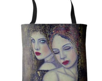 """L.E.Wearable Art Medium Tote Bag """"REFLECTIONS"""" All over print tote printed painting lady artwork by Deborah Bowe"""